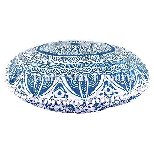 Large Ombre Mandala Floor Pillows, Round Cushion Cover, Decorative Throw Pillowcases 32'', Indian Pouf Ottoman, Boho Outdoor Cushions, Pom Pom Pillow Shams by Trade Star Exports