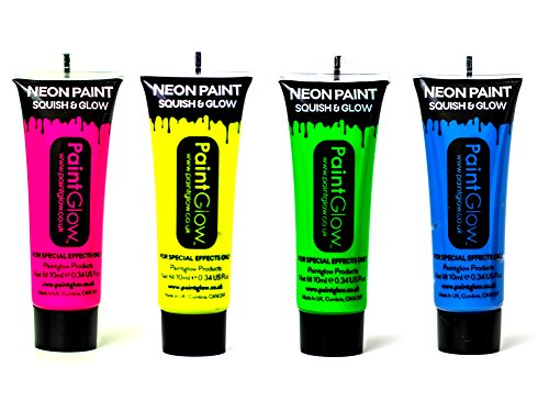 PaintGlow Neon UV Face & Body Paint Rave Festival Party 10ml Set of 4