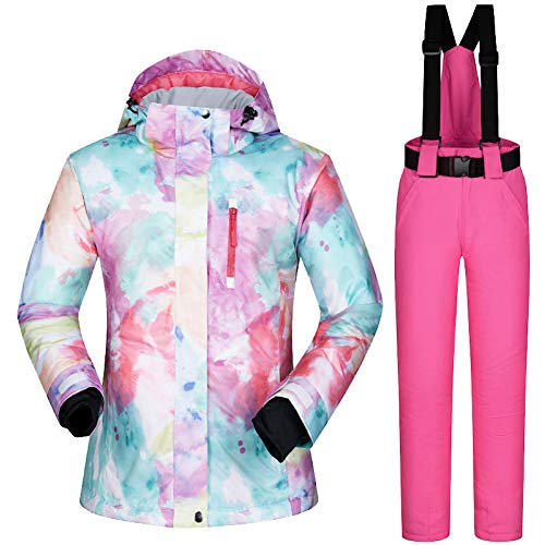 YLZH Women's Ski Jackets and Pants Winter Outdoor Mountain Waterproof Windproof Ski Snowboard Suit Snow Jacket and Snow Pants (1, L) - Limited Snowboard Jacket