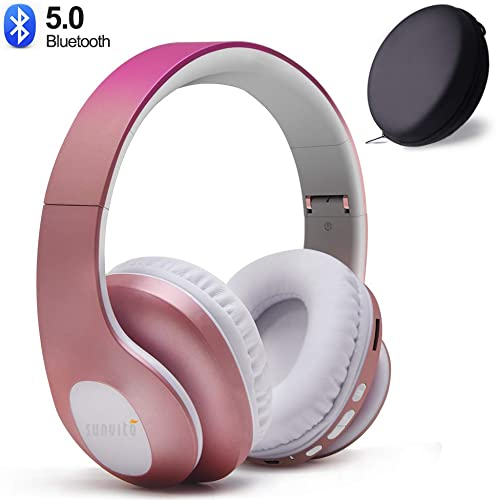 Bluetooth Headphones Wireless,Sunvito Over Ear Stereo Headset V5.0 with Built-in Mic, Foldable Soft Earmuffs,Support TF Card MP3 and FM Radio for Cellphones Laptop Rose Gold