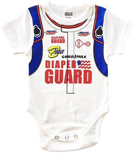 CHUBS Baby D, NASCAR Baby Bodysuit, Funny Infant One-Piece (9-12M) White ()