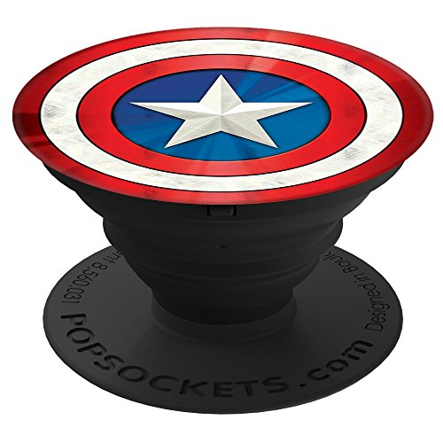 PopSockets: Collapsible Grip & Stand for Phones and Tablets - Captain America Shield (Captains Pedestal)