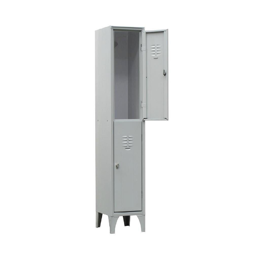 Armadio spogliatoio in metallo, 2 vani, Mis. 350 L x 500 P x 1800 H mm, serratura a cilindro con chiave PACK SERVICES SRL