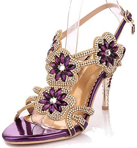 Kebinai Womens Glitter Strappy Slingback?Sandal Rosette Dress Sandals Wedding Sandal High Heel Hot Sell Grape7 B(M) US (Sling Rosette)