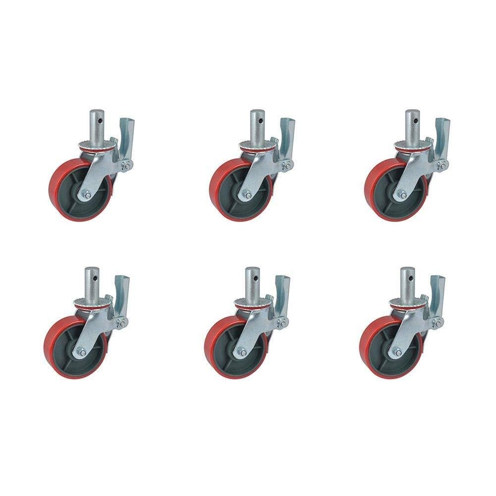 Red Furniture Casters, 6 Inches High Strength Polyurethane Scaffolding Casters (Color : 6 inch 4 Pieces, Size : Red) by W-h-e-e-l-s