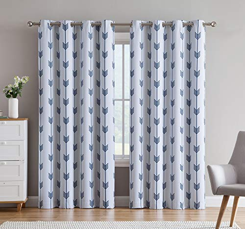 Geometric Curtain - HLC.ME Arrow Printed Privacy Blackout Energy Efficient Room Darkening Thermal Grommet Window Curtain Drape Panels for Kids Bedroom - Set of 2 - Platinum White/Navy Blue - 84