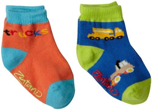 (Zutano Little Boys' Two Pack Anklet Socks, Aqua/Orange, 2-4T)