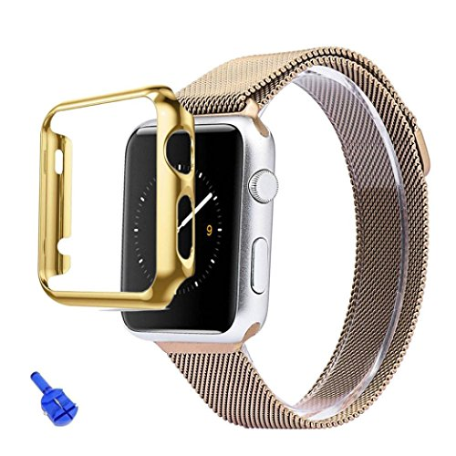 [해외]Pulison (TM) 스테인레스 스틸 스트랩 시계 밴드 + 어댑터 + 케이스 커버 Apple 시계 iWatch 38mm / 42mm 용/Pulison(TM) Stainless Steel Strap Watch Band