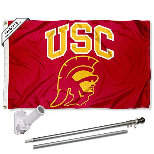 USC Trojans New Trojan Head Flag with Pole and Bracket Kit