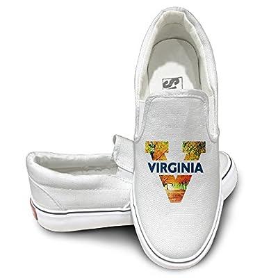 Amone University V Logo Virginia Activewear Unisex Flat Canvas Shoes Sneaker White