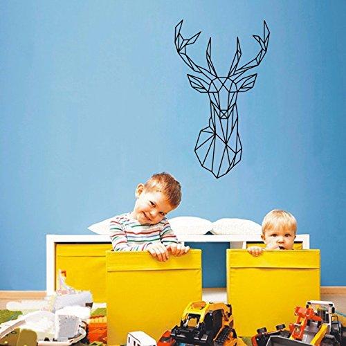YOYOYU ART HOME DECOR New Design Geometric Deer Head Wall Sticker Geometry Animal Decals Vinyl Wall Art Custom Home Decor Mural Animal Deer Decal for Kids Children Room A-132(BLACK)
