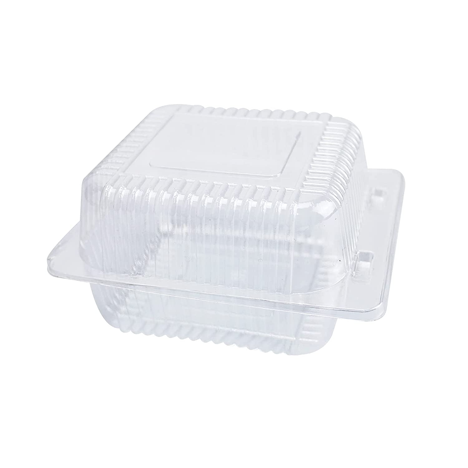 Clear Hinged Plastic Containers with Lids,50PC Square Plastic Hinged Food Container Individual Cake Slice Containers Disposable Plastic Clamshell Takeout Tray for Salads, Pasta, Sandwiches 5.3x4.7x2.8 Inch
