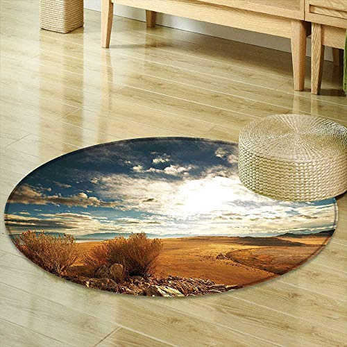 Print Area Rug Americana Landscape Decor Prairie Hot USA Mississippi River Valley with Idyllic View Image Orange Blue Perfect for Any Room, Floor Carpet R-35 ()