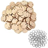 Bememo 100 Pieces Round Wooden Discs with Holes Birthday Board Tags and 100 Pieces 15 mm Rings for Arts and Crafts (3.8CM)
