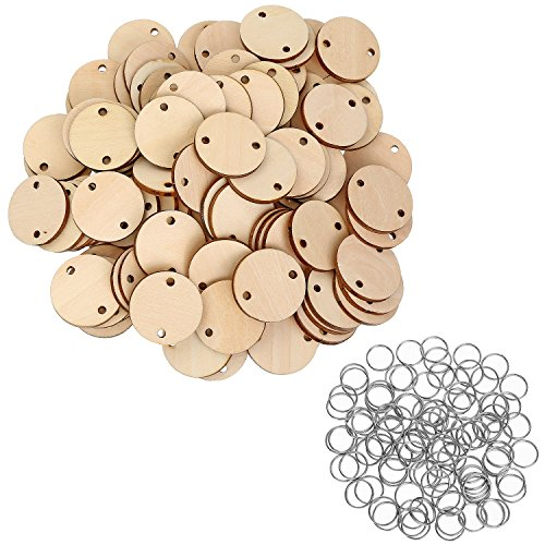 (Bememo 100 Pieces Round Wooden Discs with Holes Birthday Board Tags and 100 Pieces 15 mm Rings for Arts and Crafts (3.8CM))
