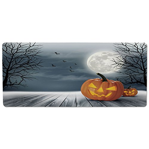 Pet Mat for Food and Water,Halloween,Cold Foggy Night Dramatic Full Moon Pumpkins on Wood Board Trees Print,Grey Orange Black,Rectangle Non-Slip Rubber Mat for Dogs and -