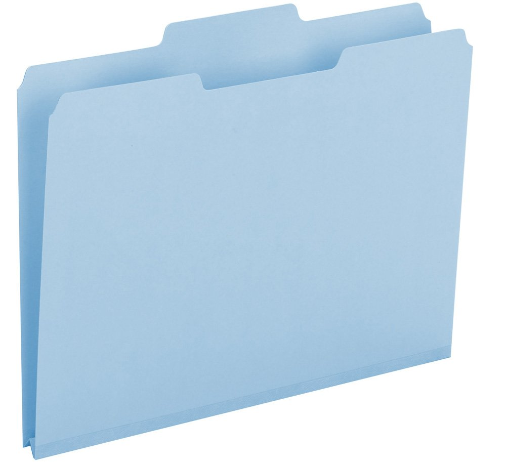Smead 100% Recycled Pressboard File Folder, 1/3-Cut Tab, 1'' Expansion, Letter Size, Blue, 25 per Box (13502)