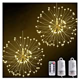 Starburst Lights,120 Led Dimmable Battery Operated Firework Hanging Lights, Waterproof Christmas Fairy String Lights 8 Lighting Modes for Home Garden Wedding Xmas (Warm White, 2 Pack)