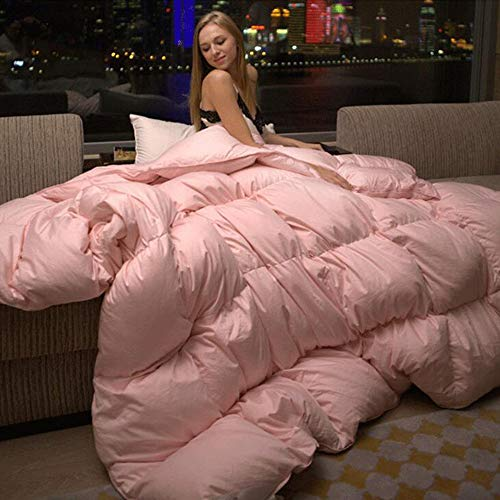 GE&YOBBY Solid Color Goose Down Comforter,Simple Quilt Hotel Design Less Noise Warm Fluffy with Cotton Cover Lightweight Comforter for Winter King Queen -Pink 150x200cm