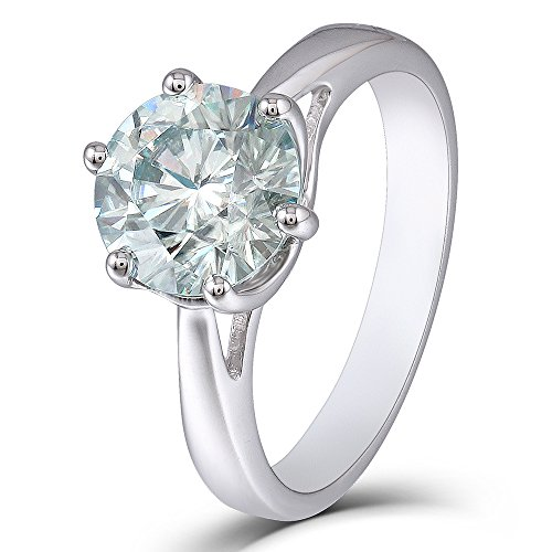 DovEggs 2ct 8mm Round Cut 2.6mm Band Width Moissanite Engagement Ring Platinum Plated Sterling Silver (6.5)