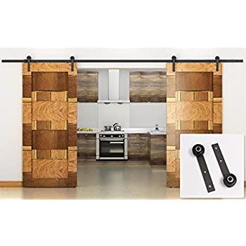Erfect 13 FT Double Door Sliding Track Barn Door Sliding Hardware Coffee