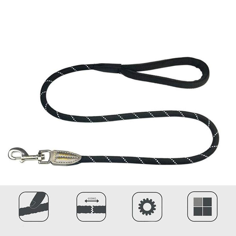 Nylon Woven Pet Leash Double Nylon Comfort Handle Slip Lead for Dogs redatable Metal Buckle Leather Wrap Predection Wear-Resistant Tensile Suitable for Walking Black (1.2-2m)