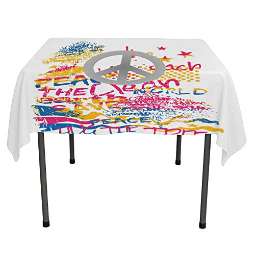 Hippie BBQ Tablecloth Grey Peace Sign on a Background Colorful Slogans Hand Drawn Graffiti Style Multicolor Polyester tablecloths Small Square Tablecloth 36 by 36 inch ()