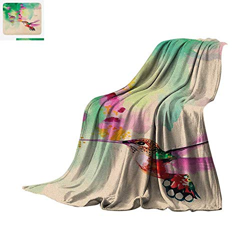 Hummingbird Custom Design Cozy Flannel Blanket Art with Colibri Bird and Flowers Romantic Springtime Tropics Nature Theme Digital Printing Blanket 60