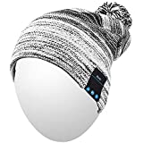 Qshell Winter Comfy Bluetooth Beanie Washable Hat w/Basic Knit Music Cap with Speakers & Mic Hands Free Wireless Bluetooth Headphones Headsets for Running Skiing Skating Hiking,Christmas Gifts - Black