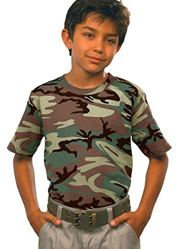 Code Five Youth Camouflage T-Shirt, Small, Green Woodland