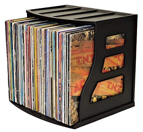 Vinyl Record Storage Crate LP Album Holder 12x12 Paper Rack Ring Binder Stand Lever Arch Shelf Scrapbook Organizer Box Stackable Cube - Holds Over 70 LPs - Now with New Improved Base Clip