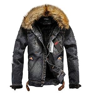 Sun Lorence Men's Winter Fleece Lined Fur Collar Button Down Patch Denim Jacket Coats