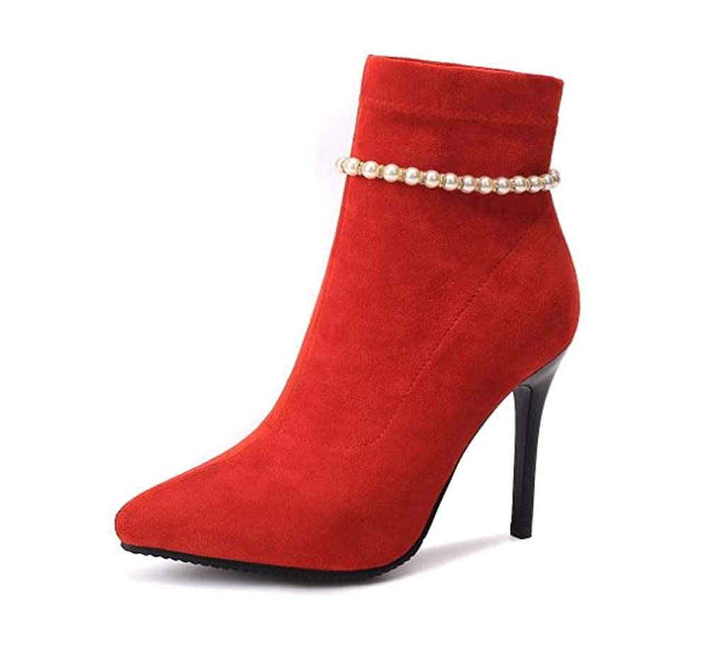 Rose town Womens Pointed Toe Pearl High Heel Stiletto Ankle Boots