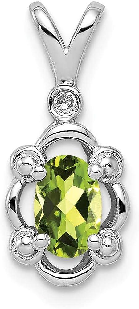 Solid 925 Sterling Silver Peridot Green August Gemstone Diamond Pendant Charm 24mm x 6mm