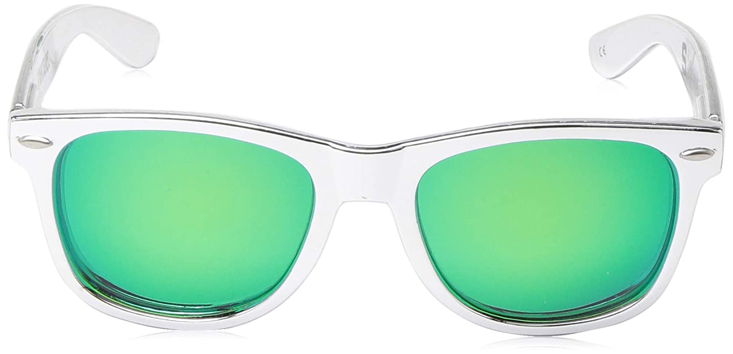 Silver One Size NCAA Michigan State Spartans  MIST-6 Silver Chrome Frame Green Lens Sunglasses