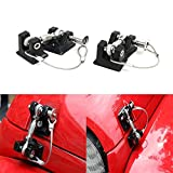 Drizzle Hood Latches Hood Lock 2pcs Aluminum Catch Locking Kit 2007-2017 Jeep Wrangler JK JKU JL (Black)