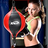 Intsun Aceshop SpeedPunchBag Leather Speed Ball Hanging Boxing Punching Ball, Double End Ball with Boxing Reflex Ball and Pump for Gym MMA Boxing Sports Punch Bag Adult Kids Men Women