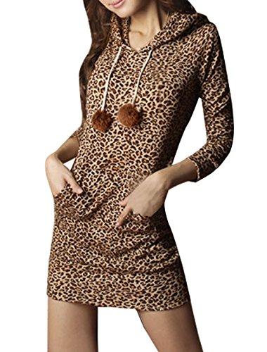 Allegra K Ladies Leopard Pattern Drawstring Pullover Hoodie Dress Brown L