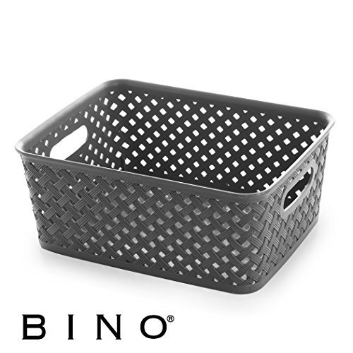 BINO Woven Plastic Storage Basket, Medium (Grey)