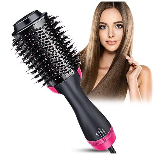 HiEHA Hot Air Brush, One Step Hair Dryer & Volumizer, 3-in-1 Hair Dryer Brush Styler, Negative Ion Electric Hair Blow Dryer for Straightening, Curling, Drying, Reducing Frizz and Static - 51qdLFbBt4L - Hair Dryer Brush, Hot Air Brush, One Step Hair Dryer & Volumizer, Blow Dryer Brush, 3 IN 1 Hair Straightener Brush with Negative Ion for Straightening, Curling, Reducing Frizz and Static (Black)
