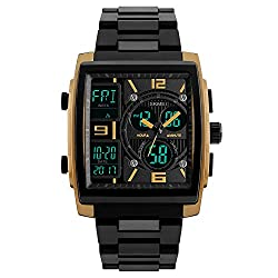 SKMEI 1274 Men's Quartz Chronograph Sport Casual Multiple Time Zone Clock Digital Dual Display Watches (gold)