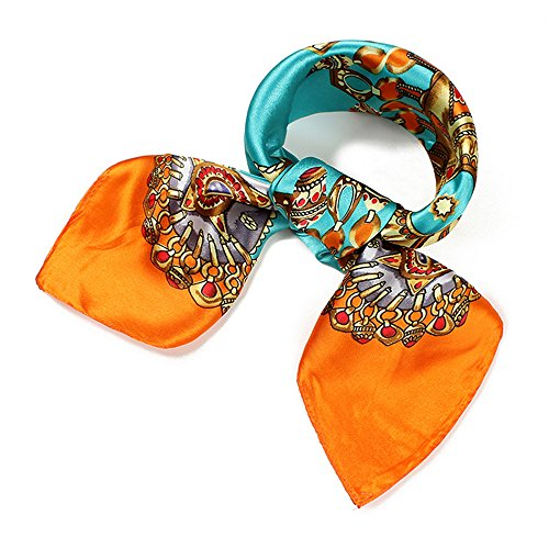 QBSM Womens Orange Square Satin Silk Neck Head Hair Scarf Wraps for Sleeping,Hijab Bandana for Black Women Gold Chain