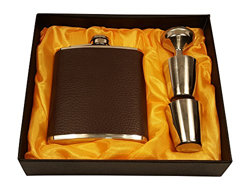 Brown-Leather-7-Oz-Flask-Gift-Set-with-Two-Shot-Glasses-and-Funnel