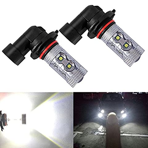 Holonyak Extremely Bright Max 50W High Power H10 9145 LED Bulbs for DRL or Fog Lights, Xenon White - 9145 Bulb