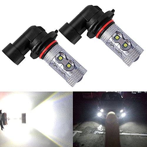 Holonyak Extremely Bright Max 50W High Power H10 9145 LED Bulbs for DRL or Fog Lights, Xenon White