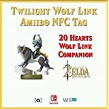 The Legend of Zelda Breath of the Wild - Twilight WOLF LINK 20 HEARTS Amiibo NFC TAG Card