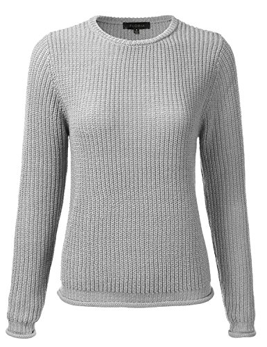 FLORIA Womens Crewneck Long Sleeve Sheer Soft Knit Sweater With Rolled Up Trim Border Grey (Sheer Knit Sweater)