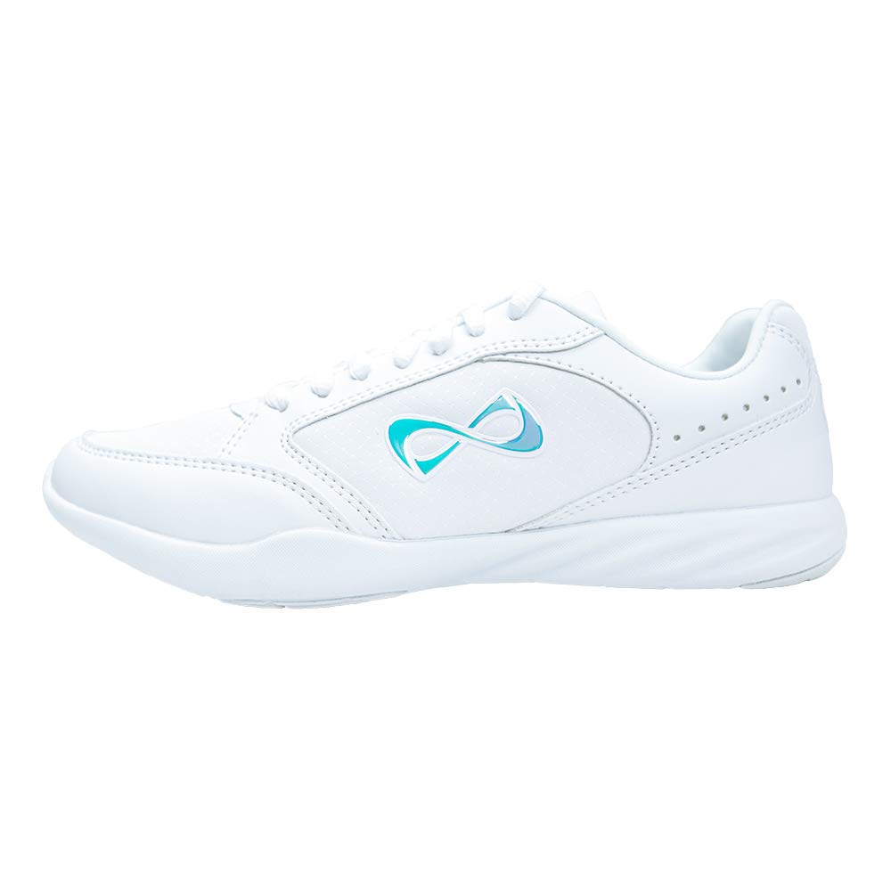 Nfinity Fearless   Durable Sideline Cheer Shoe with Iridescent Logo (4) White