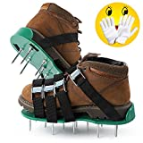 Tonbux Lawn Aerator Shoes, 26 Spikes and 4 adjustable straps Ready for aerating your yard, lawn, roots & grass, Heavy Duty Spiked Sandals Shoes with Garden Work Gloves