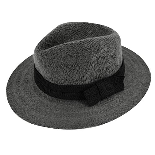 Monique 3-12 Years Old Girls Lovely Bow Mohair Fedora Princess Hat Autumn Spring Warm Dome Bowler Cap - Fedora Old